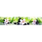"""Кухонный фартук АБС """"Белые орхидеи и бамбук"""""""