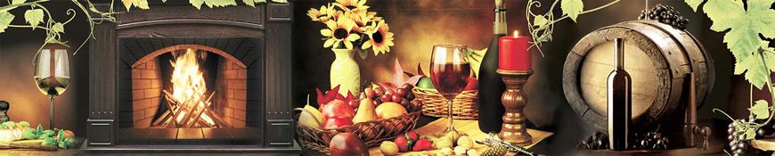 Кухонный фартук АБС Вино и камин