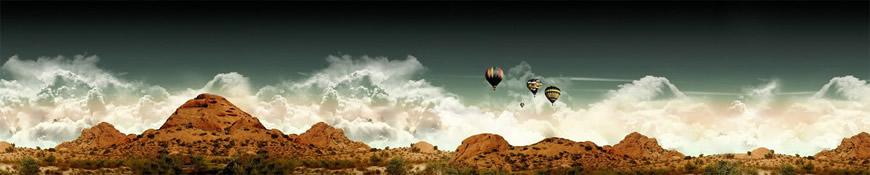 Кухонный фартук АБС Воздушные шары в пустыне