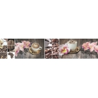 """Кухонный фартук АБС """"Кофе и орхидеи"""""""