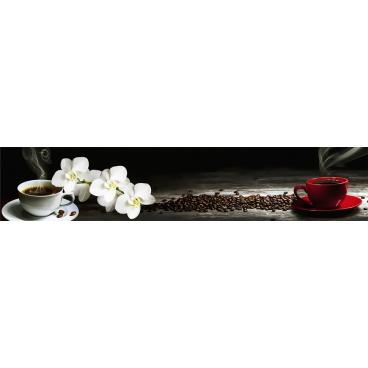 """Кухонный фартук АБС """"Белая орхидея и кофе"""""""