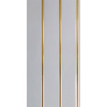 Панель ПВХ белая трехсеционная, полоса золото 240*3000*8 мм
