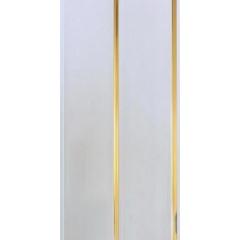 Панель ПВХ белая двухсекционная, полоса золото 240*3000*8 мм
