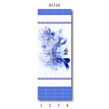 """01310 Дизайн-панели PANDA """"Синий цветок"""" Панно 4 шт"""