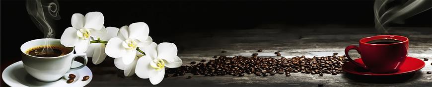 Кухонный фартук АБС Белая орхидея и кофе