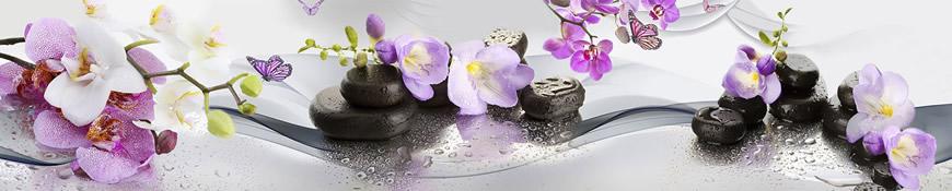 Кухонный фартук АБС Орхидеи и бабочки