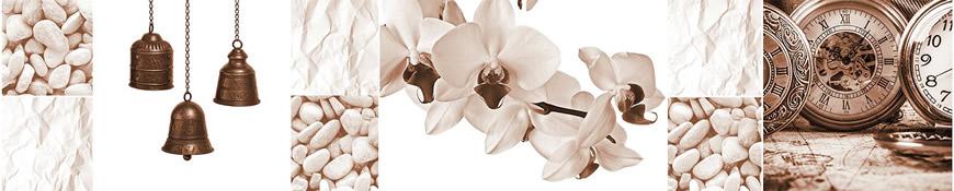 Кухонный фартук АБС Орхидея сепия