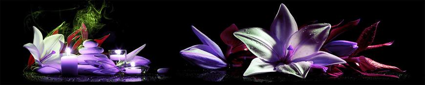 Кухонный фартук АБС Вечерние лилии