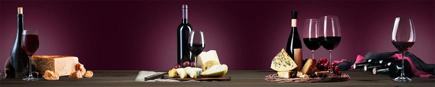 Кухонный фартук АБС Вино и сыр