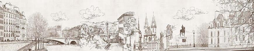 Кухонный фартук АБС Зарисовка города