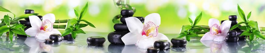 Кухонный фартук АБС Белые орхидеи и бамбук