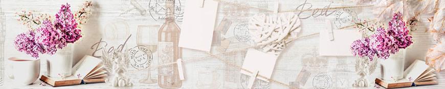Кухонный фартук АБС Сиреневая открытка
