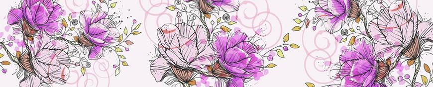 Кухонный фартук АБС Розовые цветы