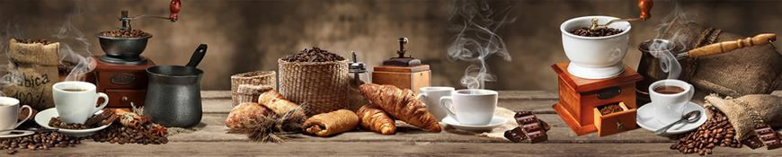 Кухонный фартук АБС Кофе и круассаны