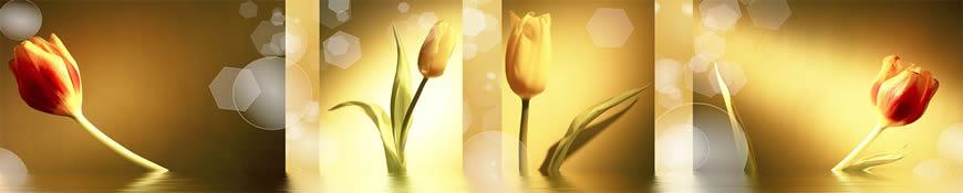 Кухонный фартук АБС Золото в тюльпанах