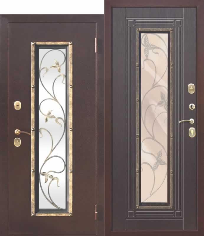 Входная металлическая дверь со стеклопакетом Плющ